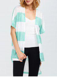 Striped High Low Hem Cardigan -