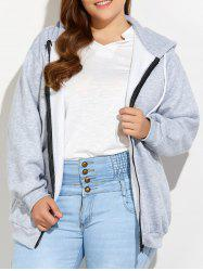 Plus Size Zipper Up Pockets Design Hoodie - LIGHT GRAY