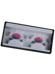 South Korean Flag Pattern False Eyelashes - WHITE