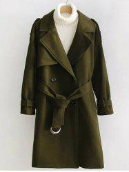 Double Breasted Woollen Blend TLong rench Coat
