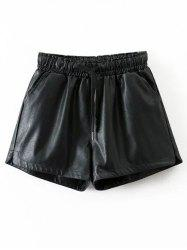 Drawstring Faux Leather Shorts - BLACK