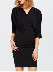 V Neck Surplice Mini Bodycon Dress -