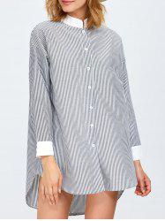 High Low Pinstriped Tunic Shirt Dress -