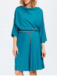 Cowl Neck A Line Dress - PEACOCK BLUE ONE SIZE