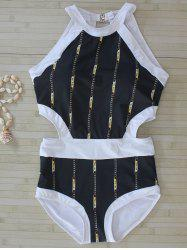 Chain Print Cut Out Swimwear - BLACK L