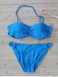 Metal Embellished Twist Bikini Set