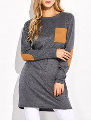Elbow Patched Longline Pocket T-Shirt - GRAY XL