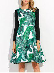 Knitted Leaf Printed Hawaiian Luau Dress With Sleeves