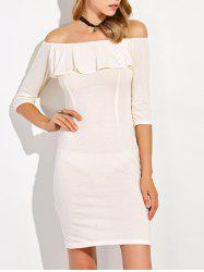 Flounce Off The Shoulder Slit Sheath Dress -