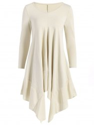 Long Sleeve Asymmetric Handkerchief Cream Dress