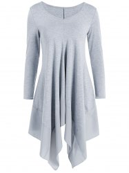 Long Sleeve Asymmetric Handkerchief Cream Dress - GRAY L