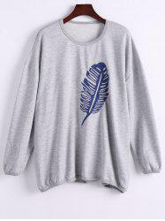 Single Plume Embroidered Drop Shoulder Sweatshirt - LIGHT GRAY ONE SIZE