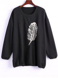 Single Plume Embroidered Drop Shoulder Sweatshirt