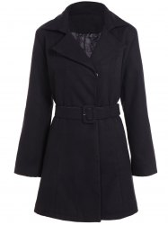 Belted Plus Size Overcoat - BLACK