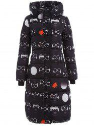Glassess Printed Maxi Padded Hooded Coat