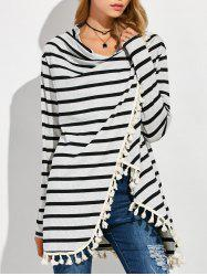 Revisable High Low Tassel Stripe Coat - LIGHT GREY