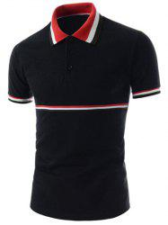 Stripe Trim Polo T-Shirt - BLACK