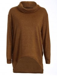 Turtleneck Long High Low Sweater - CAMEL XL