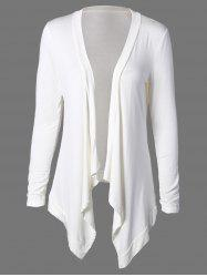 Collarless Asymmetric Drape Cardigan - WHITE