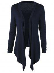 Collarless Asymmetric Drape Cardigan