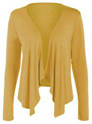 Short Collarless Drape Cardigan - GINGER