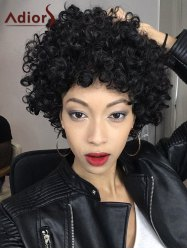 Adiors Short Shaggy Full Bang Afro Curly Synthetic Hair Wig