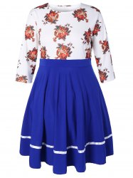 Plus Size Floral High Waisted Fare Dress -