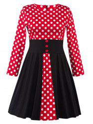 Plus Size Midi Retro Polka Dot Long Sleeve Skater Dress