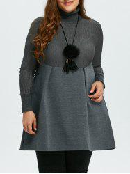 Plus Size Turtleneck Empire Waisted Skater Mini Dress - GRAY 5XL
