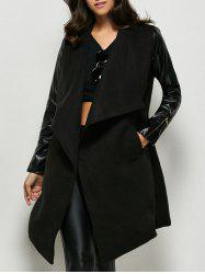 Faux Leather Panel Wool Blend Coat - BLACK