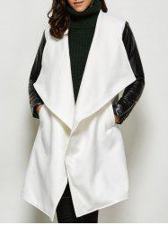 Faux Leather Panel Wool Blend Coat - WHITE