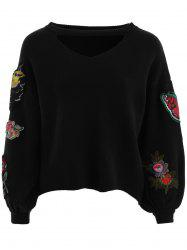 Floral Embroidered Choker Sweater -