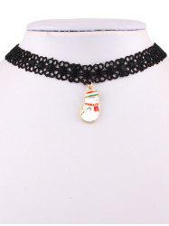 Christmas Snowman Lace Necklace - BLACK