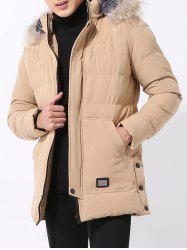 Faux Fur Trim Hooded Coat