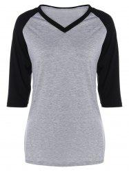 V Neck Color Block T-Shirt