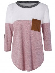 Color Block Elbow Sleeve T-shirt - LIGHT RED XL