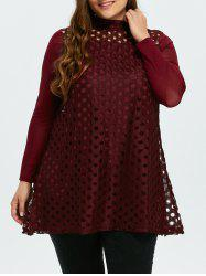 Plus Size Long Sleeve Fishnet Blouse