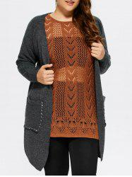 Plus Size Lace-Up Knitted Cardigan with Pockets -