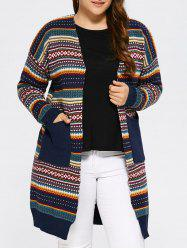 Plus Size Tribal Knitted Cardigan