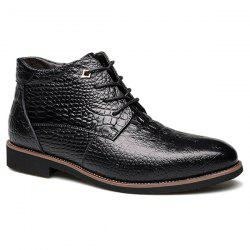 Casual Embossed Lace Up Boots - BLACK