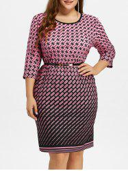 Plus Size Grid Midi Dress