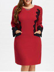 Plus Size Midi Lace Panel Dress -