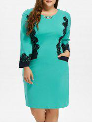 Plus Size Midi Lace Panel Dress