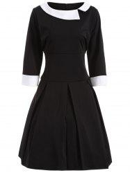 Plus Size Two Tone Vintage Dress - BLACK 4XL
