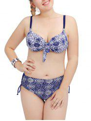 Plus Size Ornate Print Push Up Bikini Set