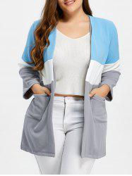 Plus Size Color Block Open Front Knit Cardigan