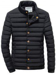 Stand Collar Zip Up Elastic Cuff Quilted Jacket