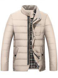 Stand Collar Zip Up Striped Quilted Jacket -