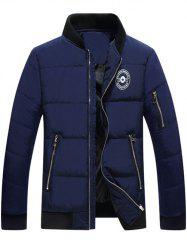 Stand Collar Graphic Printed Quilted Zipper Jacket -
