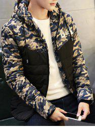 Zip Up Quilted Hooded Camo Jacket